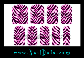 Zebra Nail Wraps or Nail Tips - Pink