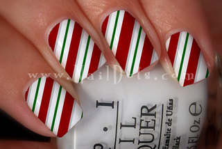 Green Striped Candy Cane Nail Wraps or Nail Tips