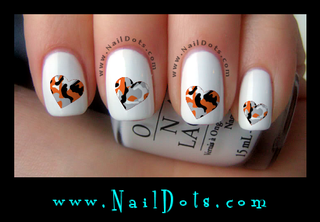 Orange and Gray Camo Heart Nail Decals - OGH