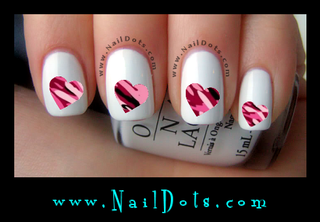 Pink Camo Heart Nail Decals - PCH