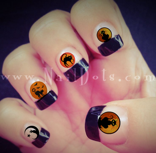 Cat in the moon Nail Decal