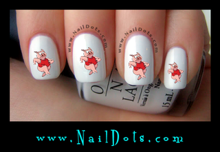 Pig Running Nail Decal