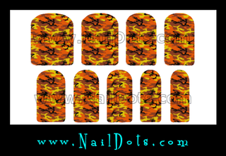 Orange Camo Nail Wraps or Tips