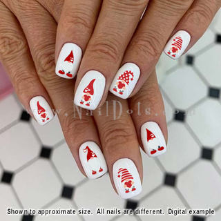 Red Valentine Gnome Nail Decals
