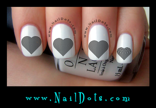 Optical Illusion Heart Nail Decals
