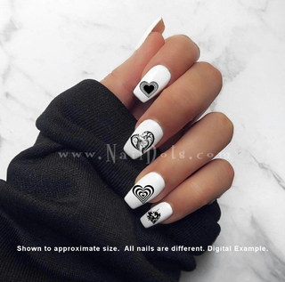 Black Heart Nail Decals