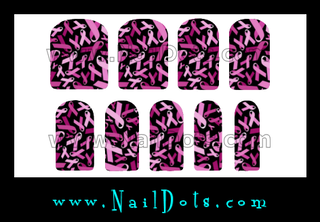 Breast Cancer Nail Wraps or Nail Tips - Dark