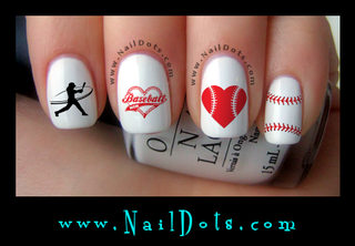 Baseball heart batter Nail Decals