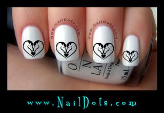Horses in a Heart Nail Decals