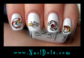 Baseball faces Nail Decals