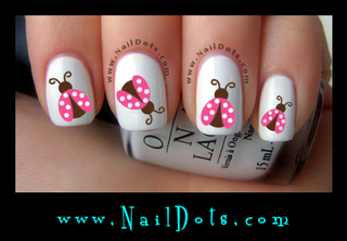Pink Lady Bug Nail Decal