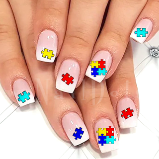 Autism Awareness Puzzle Nail Decals