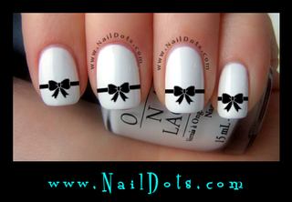 Black Ribbon Bow Nail Decals