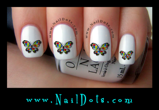 Autism Butterfly Primary Nail Decals