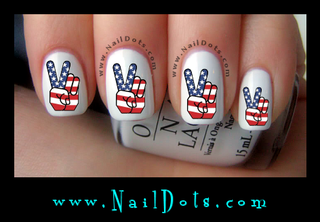 American Flag Peace Finger Nail Decals