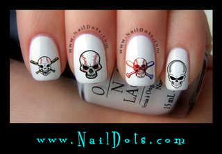 Baseball Skull Nail Decals