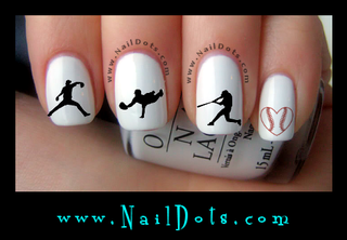 Baseball Silhouette Nail Decals