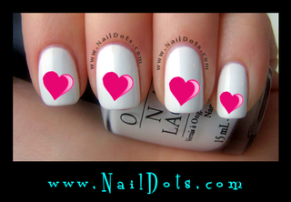 Pink Heart Nail Decals