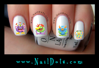 Cute Monster Nail Decal
