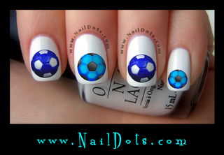 Blue Soccer Ball Nail Decals