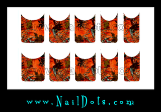 Orange Camo Nail Tips - OCT CLEARANCE