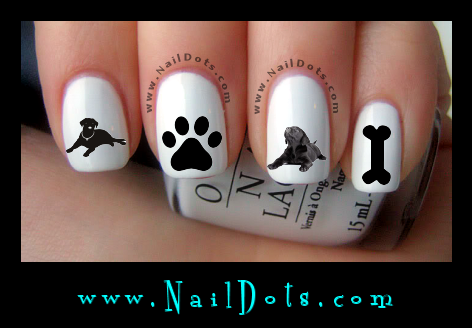 Black Labrador Nail Decals