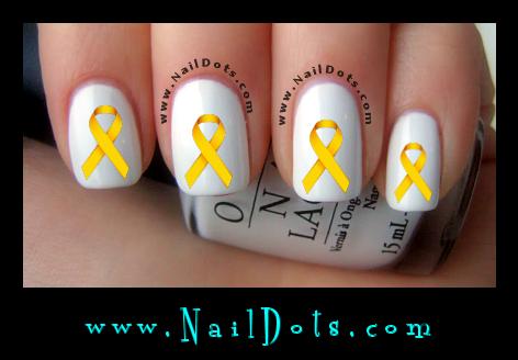 Gold Awareness Ribbon Nail Decal
