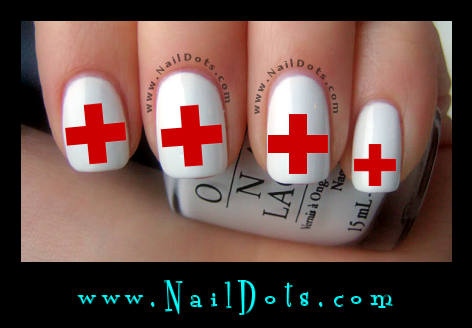 red cross nail decals