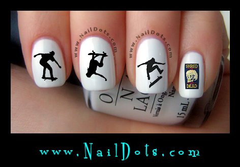 Skateboarding nail decals