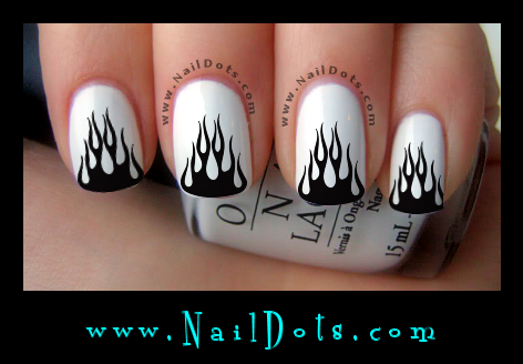 Black Flames Nail Decals