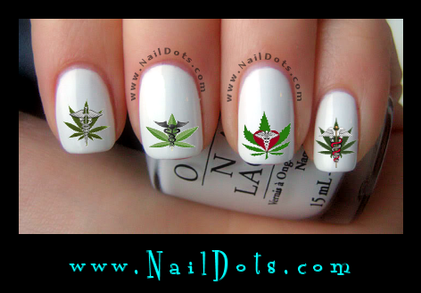 Medical marijuana nail decals