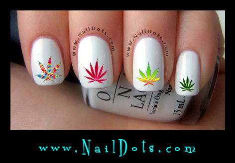 Pot Leaf Nail Decals