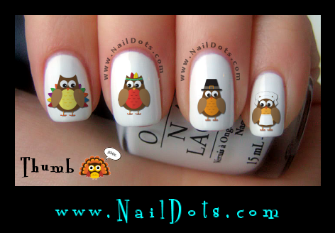 Thanksgiving Owl Nail Decals