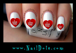 I Love You Heart Nail Decals