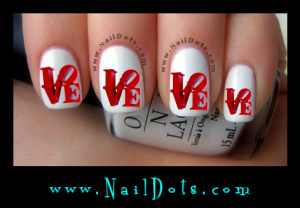 Red Love Letters Nail Decals