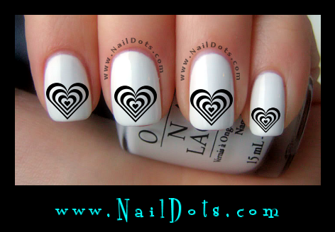 Black and White Heart Nail Decals