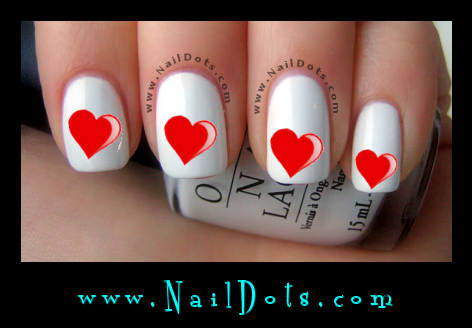 Red Heart Nail Decals