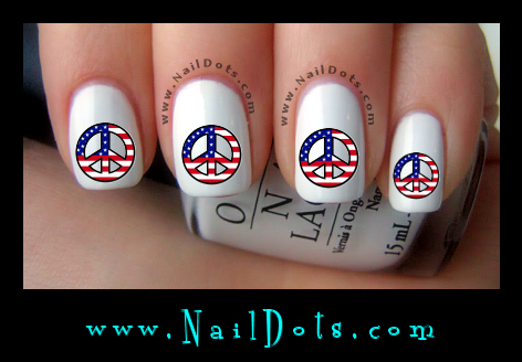 American Flag Peace Sign Nail Decals