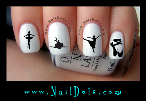 Ballet nail decals, dance nail decals