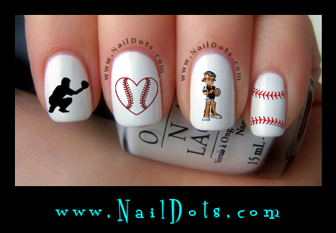 Baseball Nail Art Catcher Decal