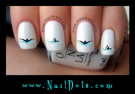 Swimming nail decals