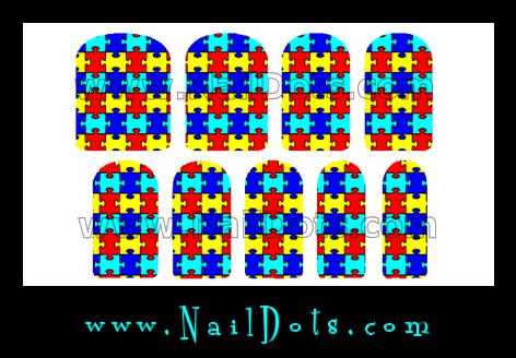 Autism Puzzle Nail Wraps